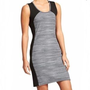 Athleta Gray Black Stretch Dot Fuse Dress M